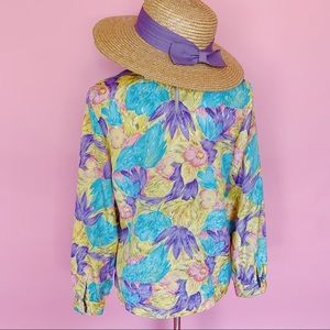 Vintage Tops - Vtg 80s Garden Floral Pastel Colored Blouse S M